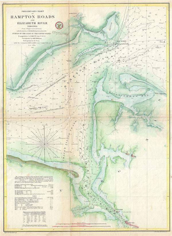 Preliminary Chart of Hampton Roads and Elizabeth River Virginia. - Main View