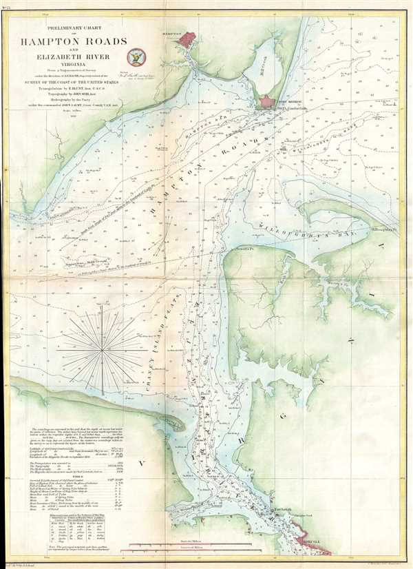 Preliminary Chart of Hampton Roads and Elizabeth River Virginia.