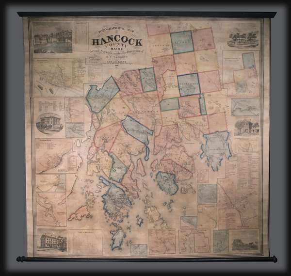 Topographical Map of Hancock County Maine.