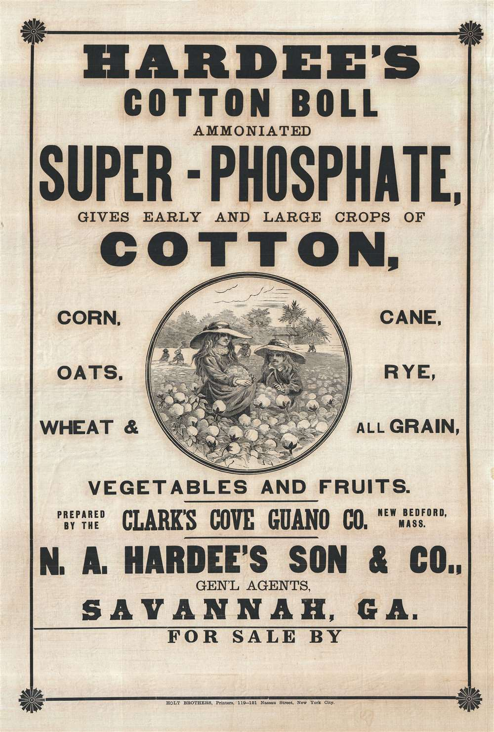 Hardee's Cotton Boll Ammoniated Super-Phosphate, gives early and large crops of Cotton…