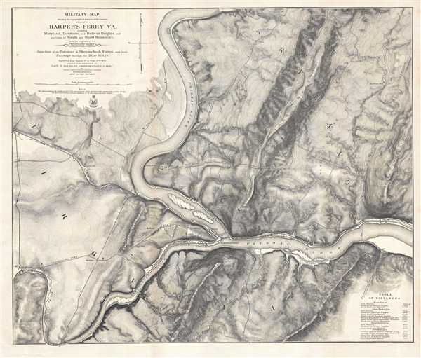 1863 Weyss Map of Harper's Ferry, West Virginia During the American Civil War