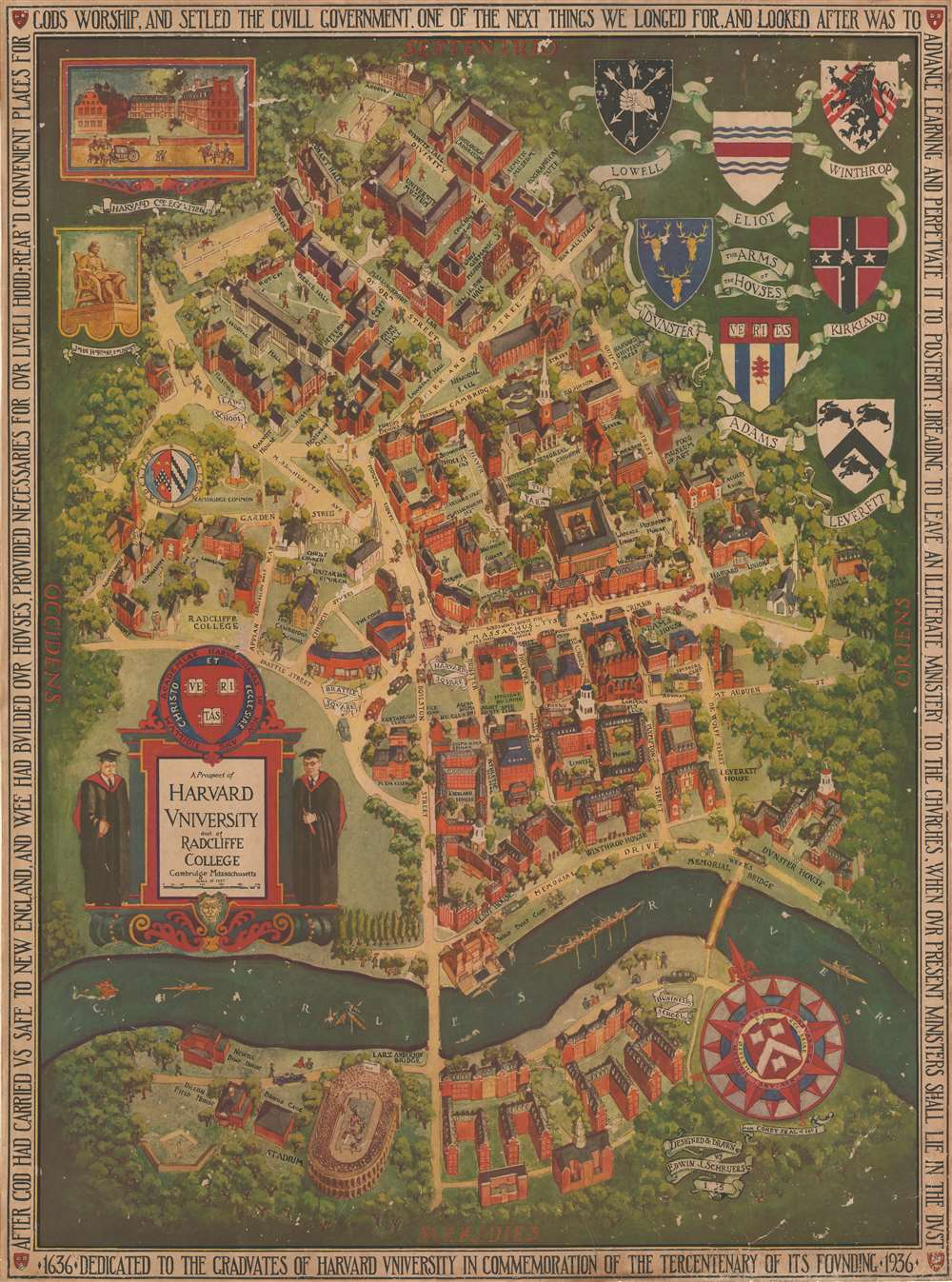 1935 Schruers Pictorial Map of Harvard University