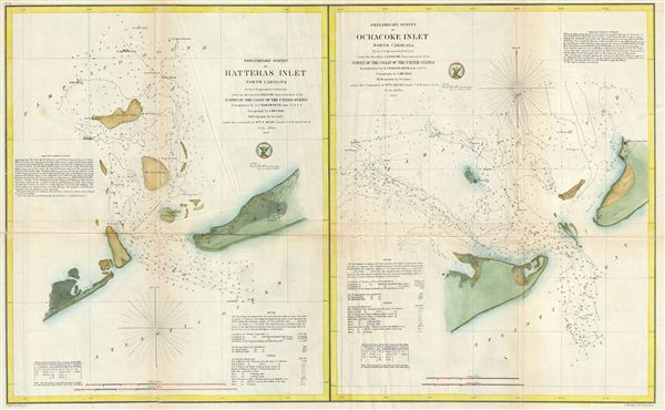 Preliminary Survey of Hatteras Inlet North Carolina.  Preliminary Survey of Ocracoke Inlet North Carolina. - Main View