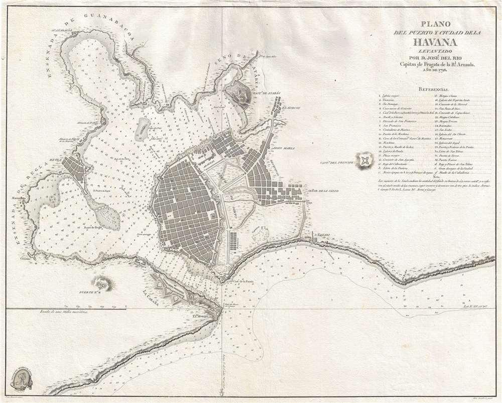 Plano del puerto y ciudad de la Havana levantado por D. José Del Rio Capitan de Fragata de la R. Armada. 1798.