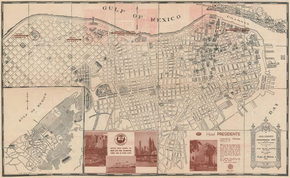 Monumental Map of the City of Havana and Suburbs. Supplement to The Blue Guide of Cuba. - Main View