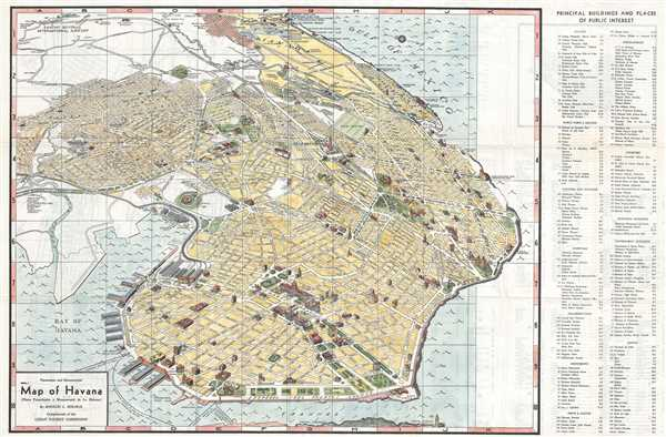Panoramic and Monumental Map of Havana. (Plano Panoramico y Monumental de La Habana). - Main View