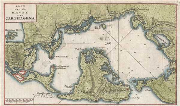1765 Isaak Tirion Map of Cartagena Harbor, Colombia