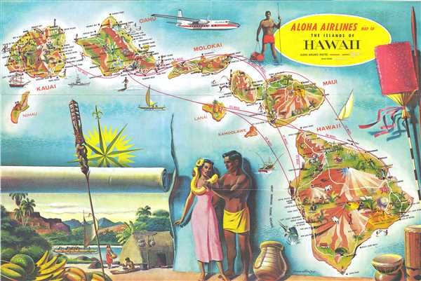 Aloha Airlines Map of the Islands of Hawaii.