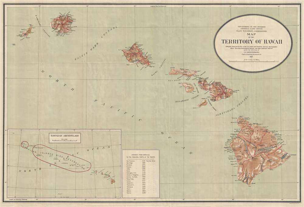 Map of the Territory of Hawaii.