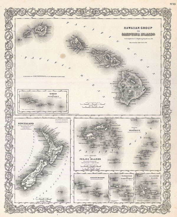 Hawaiian Group or Sandwich Islands.  New Zealand.  Viti Group or Feejee Islands.  Society Islands.  Marquesas or Washington Is.  Galapagos Islands. Samoan or Navigators Is. - Main View