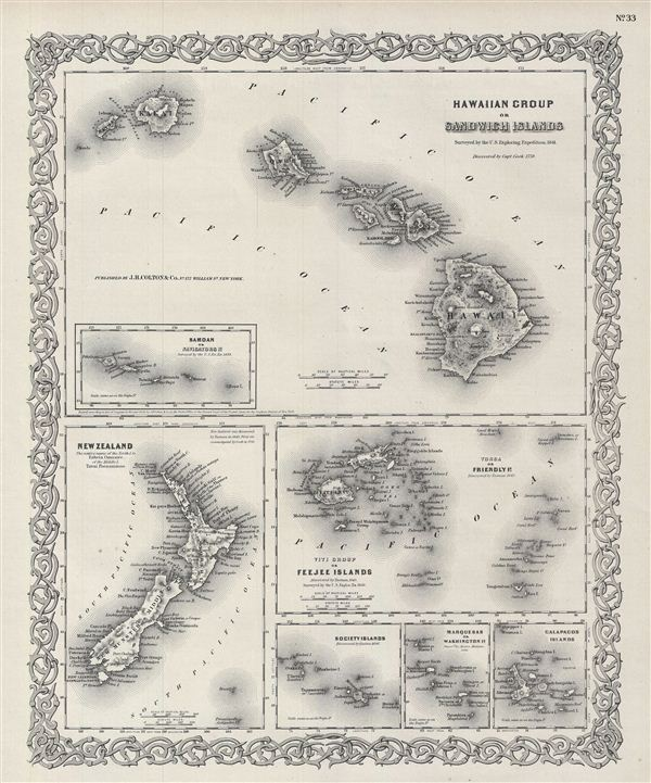 Hawaiian Group or Sandwich Islands.  New Zealand.  Viti Group or Feejee Islands.  Society Islands.  Marquesas or Washington Is.  Galapagos Islands.  Samoan or Navigators Is.