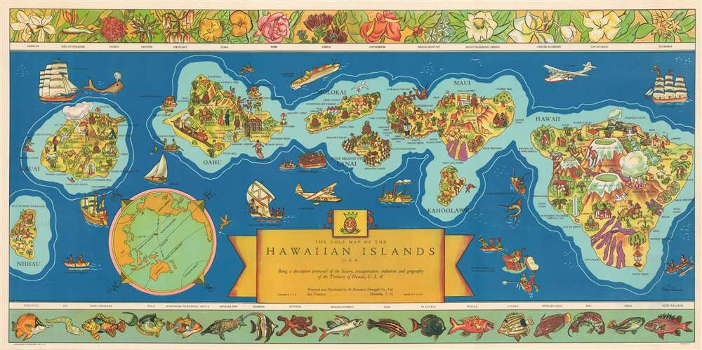 The Dole Map of the Hawaiian Islands U.S.A. Being a descriptive portrayal of the history, transportation, industries and geography of the Territory of Hawaii, U.S.A. - Main View