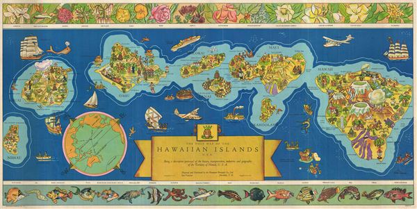 The Dole Map of the Hawaiian Islands U.S.A. Being a descriptive portrayal of the history, transportation, industries and geography of the Territory of Hawaii, U.S.A.` - Main View