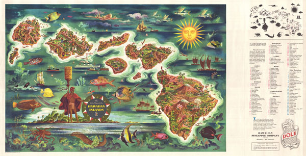 The Dole Map of the Hawaiian Islands. - Main View