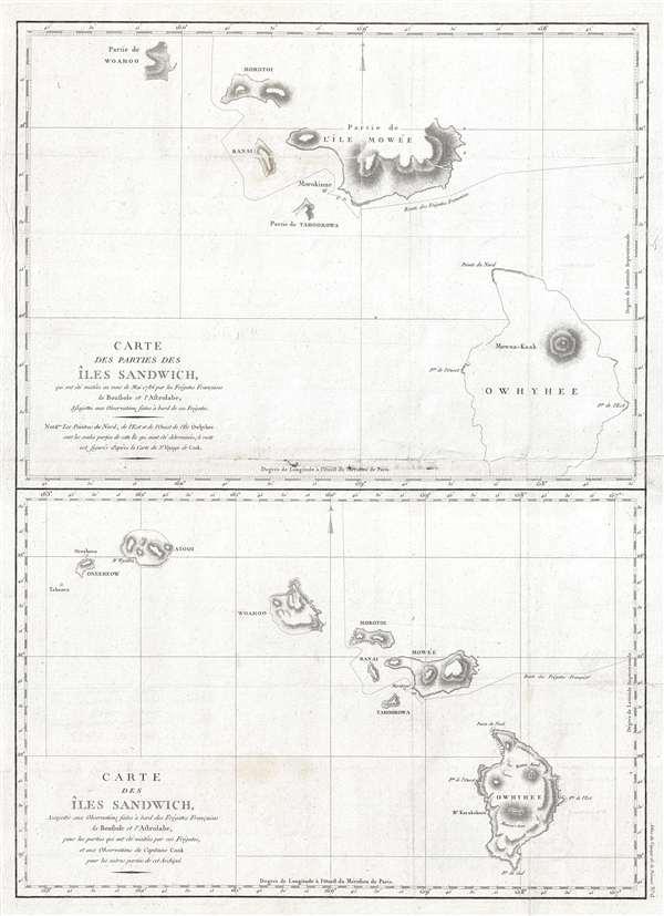 Carte des parties des Iles Sandwich, qui ont ete visitees aus mois de Mai 1786 par les Fregates Francaises la Boussole et l'Astrolabe / Carte des Iles Sandwich, assujettie aux observations faites a bord des Fregates Francaises la Boussole et l'Astrolabe.