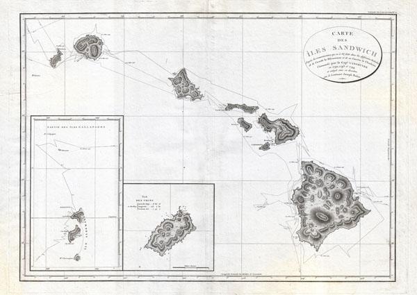 Carte des Iles Sandwich d'apres la reconnoissance qui en a ete faite dans les differentes relaches de la corvette La Decouverte et de sa conserve Le Chatham commandes par le Capt. Vancouver en 1792, 1793 et 1794. - Main View