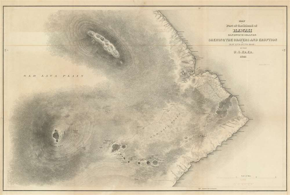 Map of Part of the Island of Hawaii Sandwich Islands Shewing the Craters and Eruption of May and June 1840. - Main View