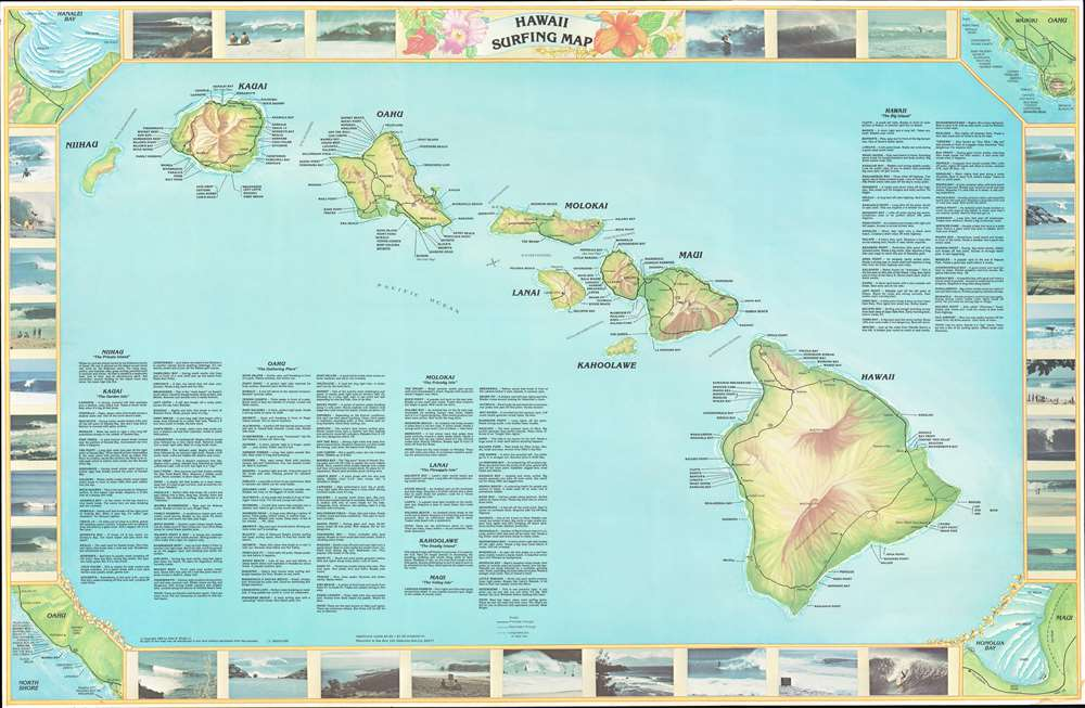 1982 Wright Surfing Map of the Hawaiian Islands