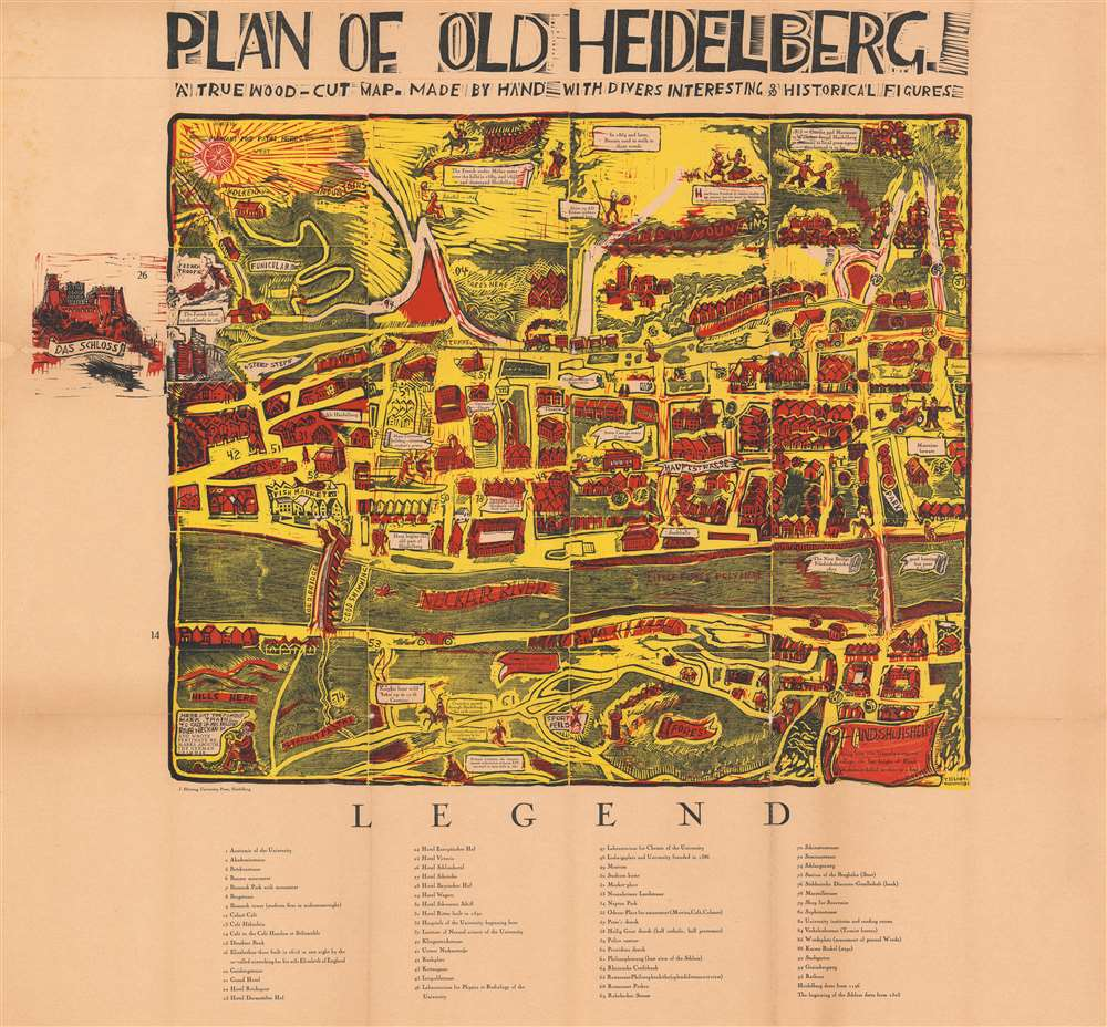 Plan of Old Heidelberg.  A True Wood-Cut Map.  Madeby Hand with Divers Inteesting and Historical Figures.