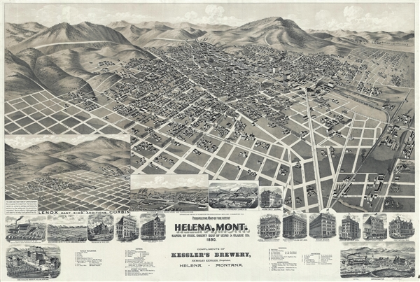 Perspective map of the city of Helena, Mont. Capital of State, county seat of Lewis & Clarke Co.