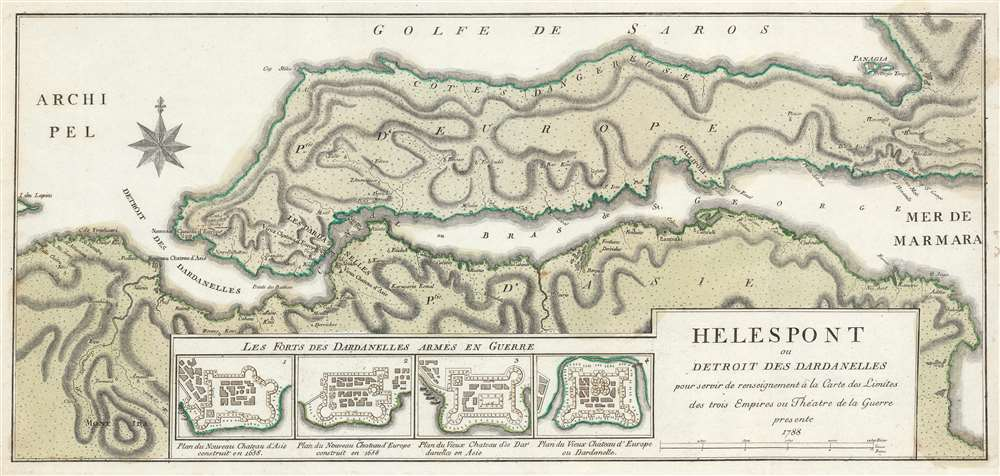 1788 Maire Map of the Dardanelles or the Hellespont, Turkey