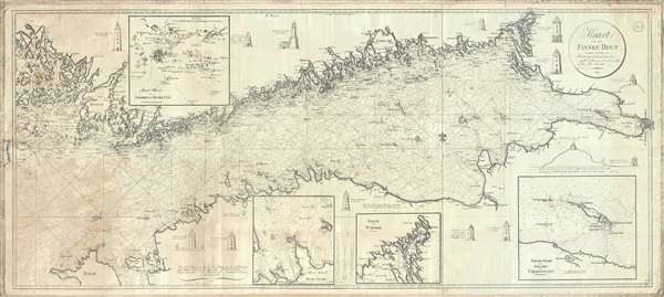 1815 Blankensteiner Blueback Nautical Chart or Map: Helsinki to St. Petersburg