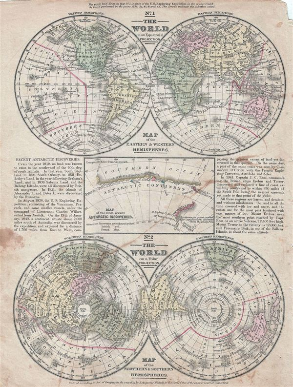 No. 1 The World on an Equatorial Projection.  No. 2 The World on a Polar Projection.  No. 3 Map of the most recent Antarctic Discoveries. - Main View