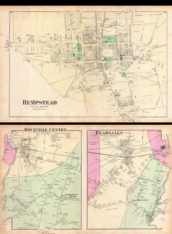 Hempstead, Town of Hempstead, Queens Co. L.I. / Rockville Center, Hempstead Town, Queens Co. / Pearsalls, Hempstead Town, Queens Co. - Main View