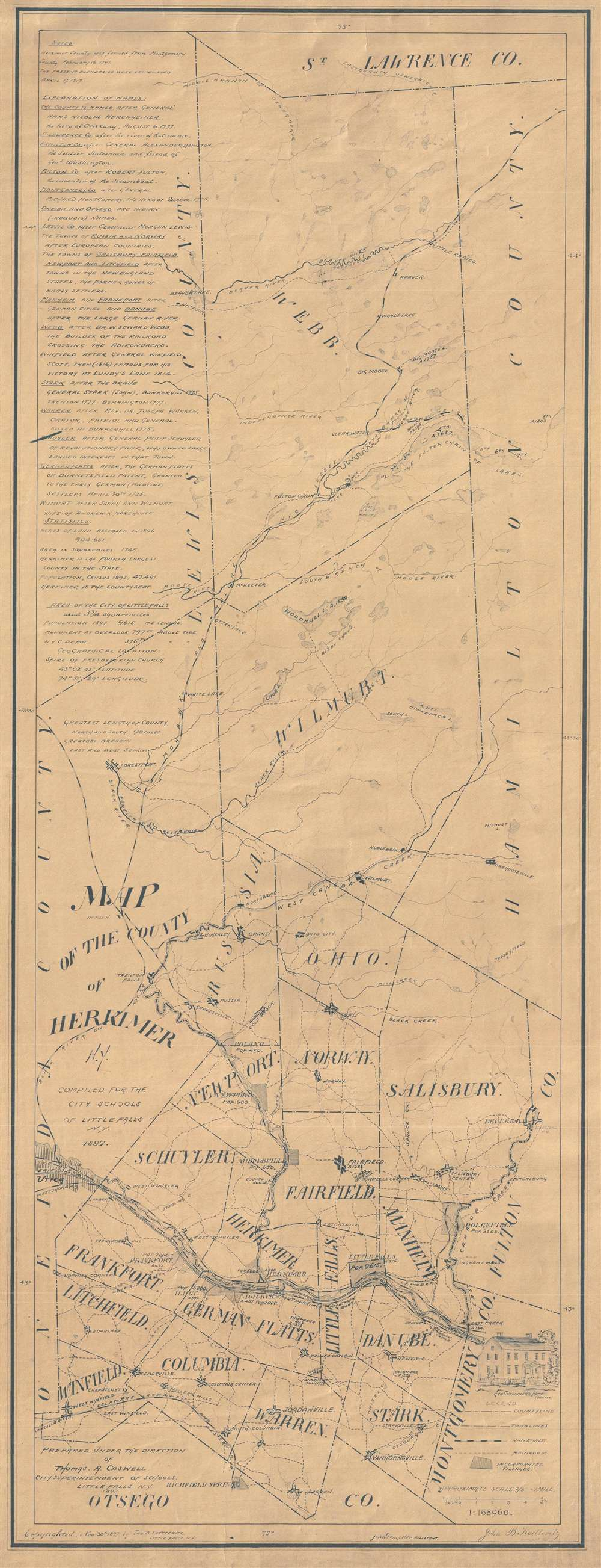 Map of the County of Herkimer N.Y. Compiled for the city schools of Little Falls N.Y. 1897