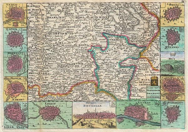 Kaart Van't Hertogdom Brabant.