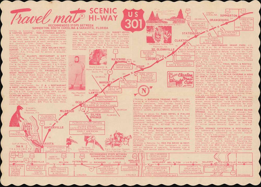 Travel mat Scenic Hi-Way U.S. 301. - Main View