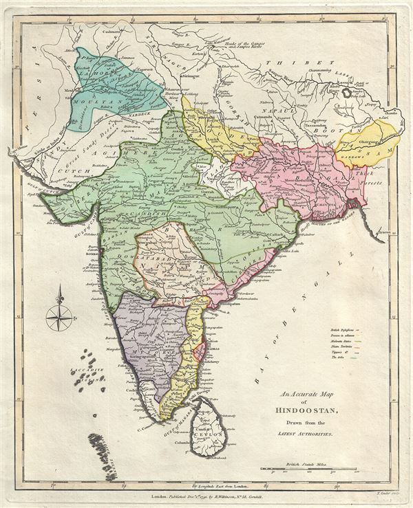 Latest India Map.An Accurate Map Of Hindoostan Drawn From The Latest Authorities