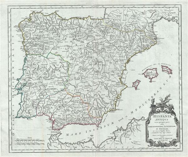 Hispania Antiqua in tres praecipuas partes, scilicet Tarraconensem, Lusitaniam, et Baeticam; nec non in Populos divisa.