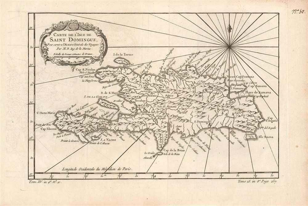 Carte de l'Isle de Saint Domingue, Pour servir a l'Histoire Générale des Voyages Par M.B. Ing. de la Marine. - Main View