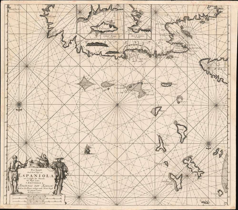 Pas kaart Van de Noord Kust van Espaniola met d Eylanden daar Benoorden. - Main View