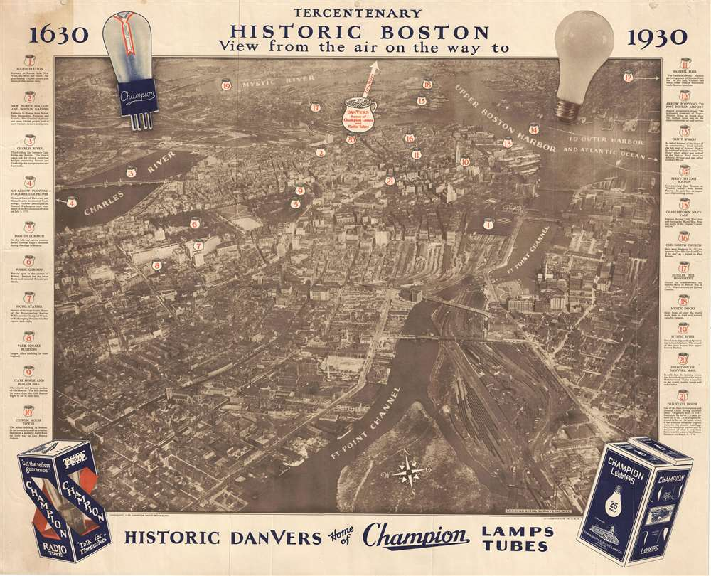 Tercentenary Historic Boston View from the Air on the Way to Historic Danvers Home of Champion Lamps Tubes.
