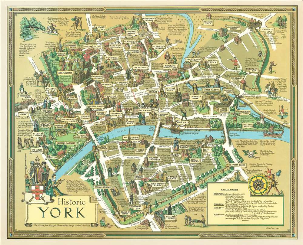 1947 Estra Clark Pictorial Map of York, England