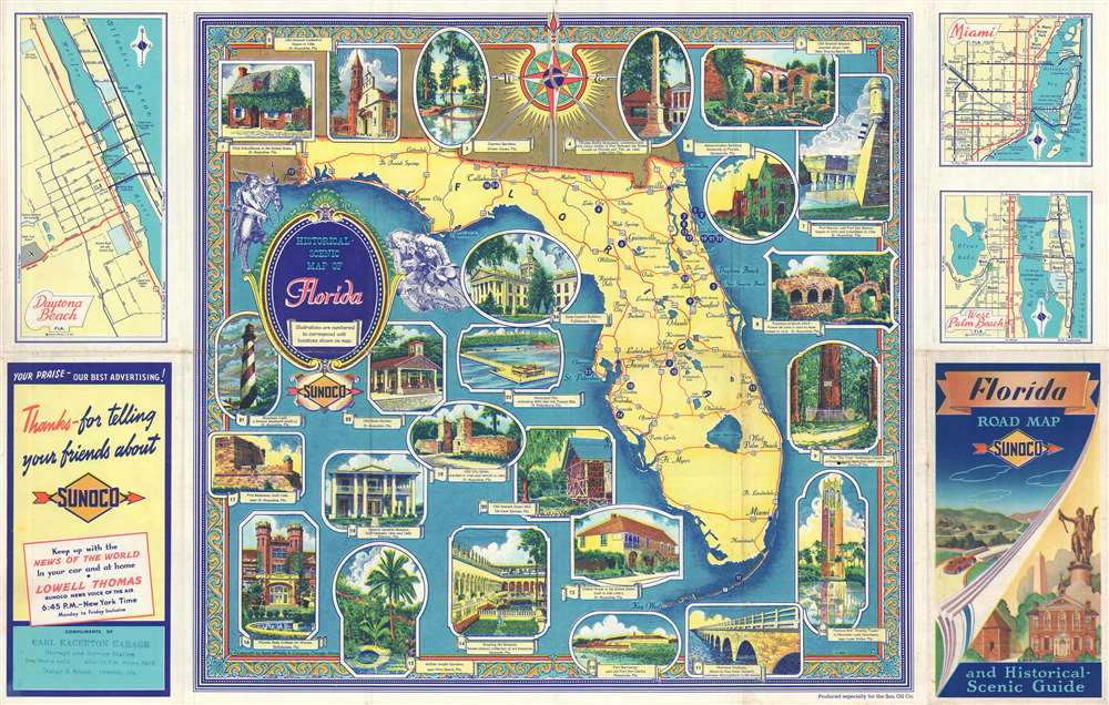 Historical Scenic Map of Florida. - Main View
