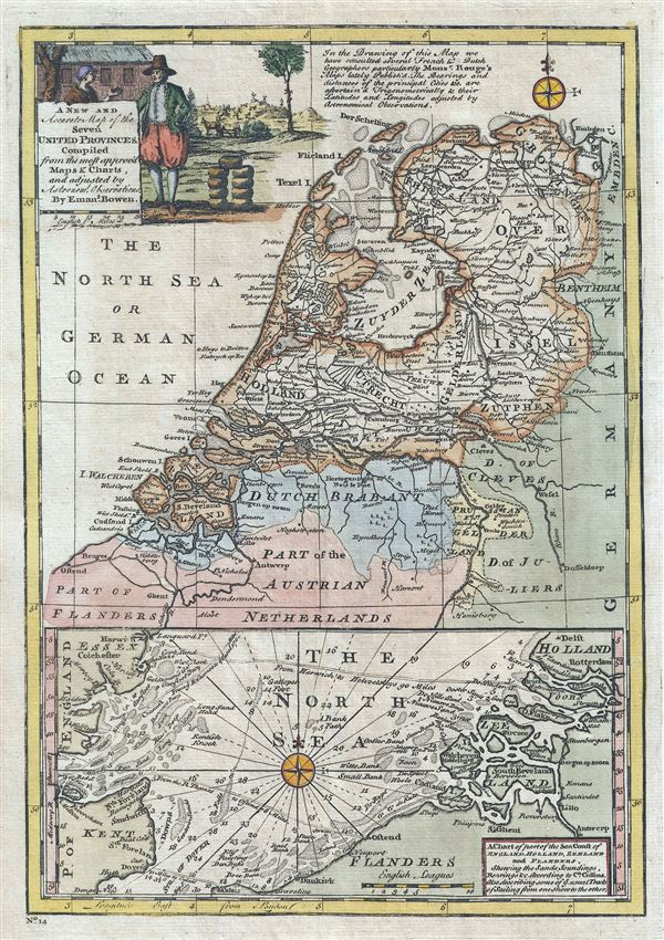 A New and Accurate Map of the Seven United Province.  A Chart of part of the Sea Coast of England, Holland, Zeeland and Flanders, shewing the Sandy Soundings, Bearings etc. - Main View
