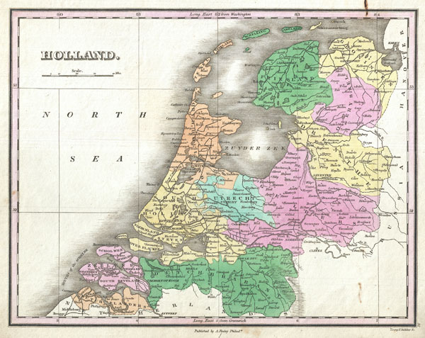 1827 Finley Map of Holland or the Netherlands