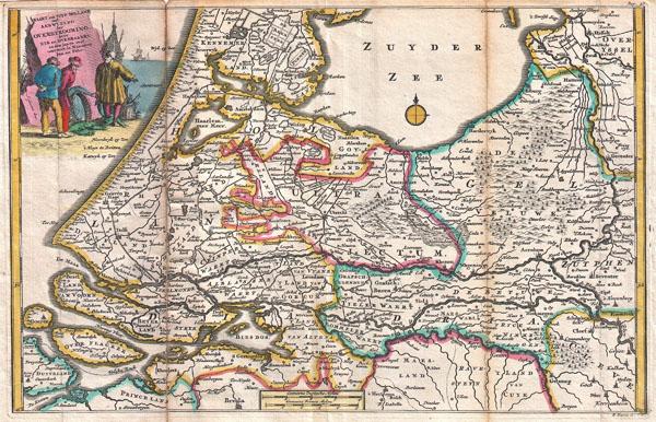 Kaart van Zuyd Holland met Aanwyzing der Overstrooming,  door eys en Dykbraaken, in den Jaare 1726 omtrent de Maanden Jan:en Febr.