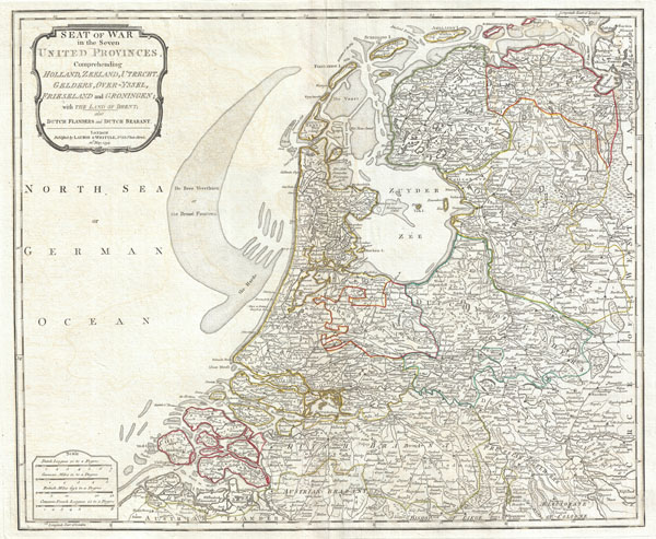 Seat of War in the Seven United Provinces, Comprehending Holland, Zeeland, Utrecht, Gelders, Over-Yssel, Frieseland and Groningen; with The Land of Drent, also Dutch Flanders and Dutch Brabant. - Main View