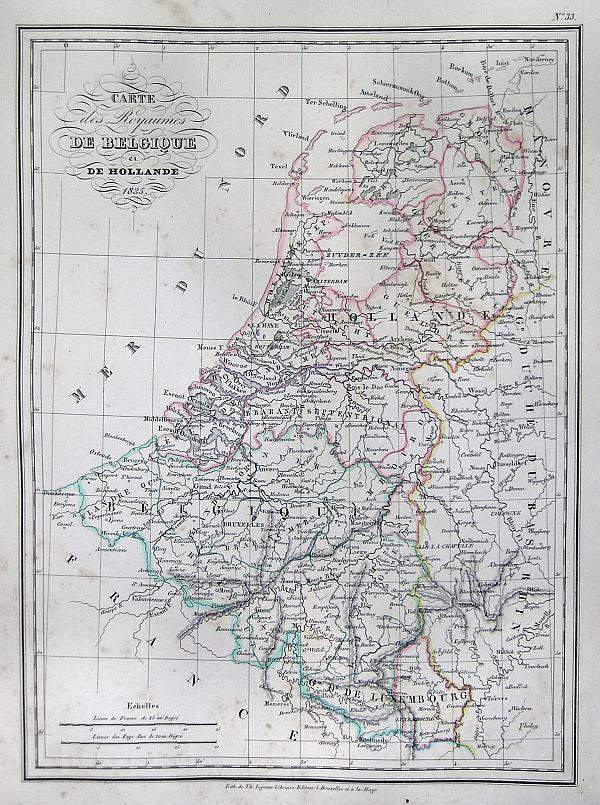 Carte des Royaumes de Belgique et de Hollande 1835.