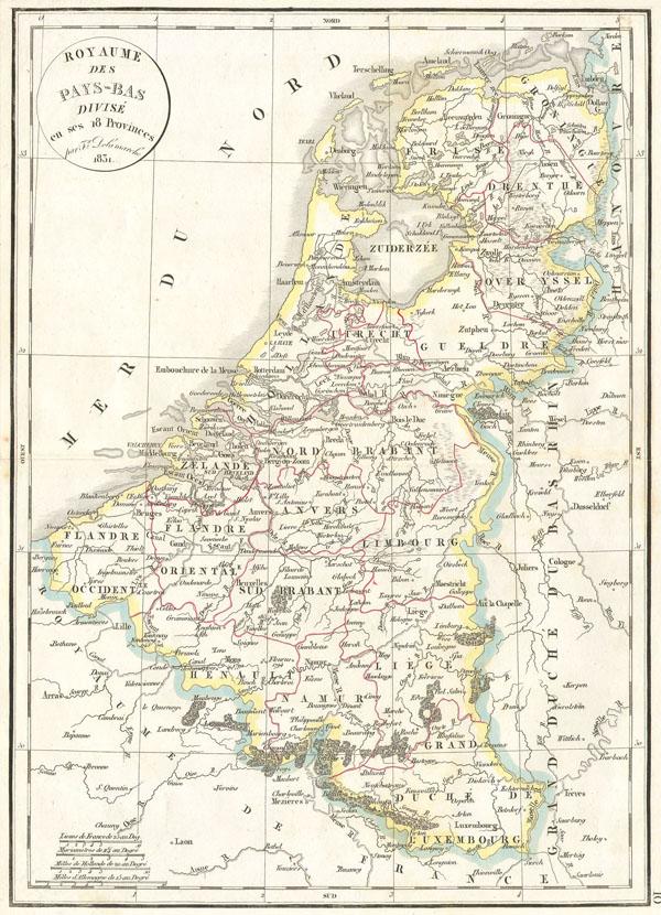 Royaume des Pays-bas divise en ses 18 Provinces.