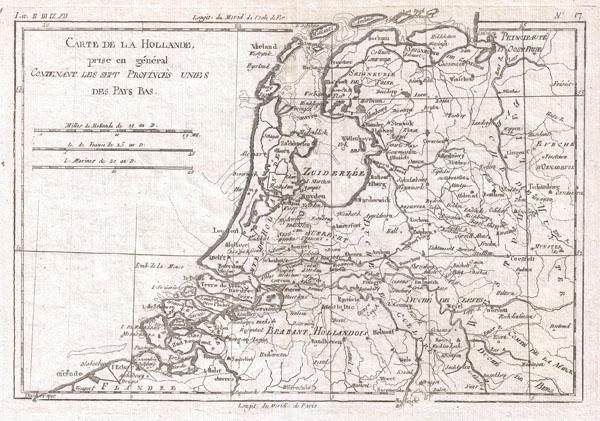 Carte de la Hollande, Prise en General Contenant les Sept Provinces Unies des Pays Bas.