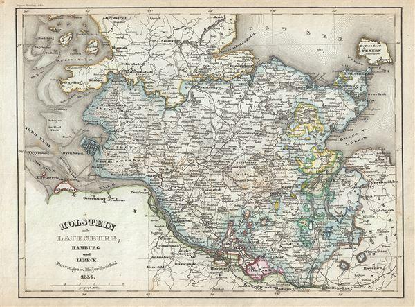 Holstein mit Lauenburg Hamburg und Lubeck Geographicus Rare