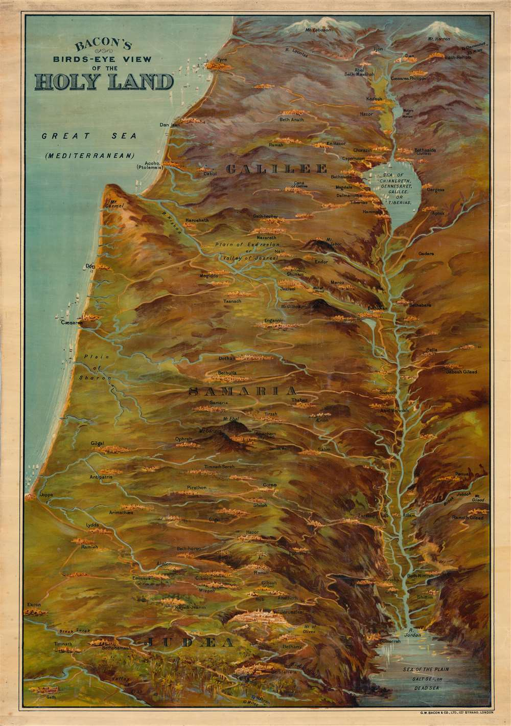 Bacon's Bird's-Eye View of the Holy Land. - Main View
