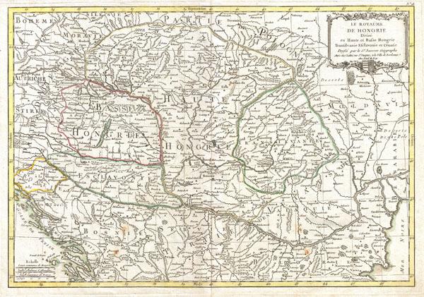 The Royaume de Hongrie Divisee en Haute et Basse Hongrie, Transilvanie, Esclavonie et Croatie.