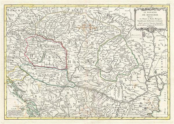 Le Royaume de Hongrie Divisee en Haute et Basse Hongrie, Transilvanie, Esclavonie et Croatie.