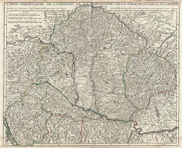 Carte Particuliere de la Hongrie de la Transilvanie de la Croatie et de la Sclavonie.